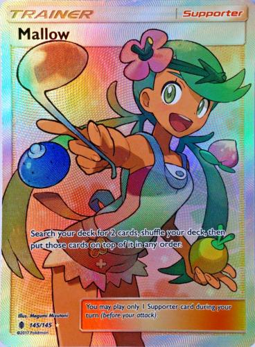 Pokemon Mallow Supporter Full Art Trainer 145//145 Sun Moon Holo Guardians Rising
