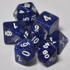 Glitter Poly Dice Set (7 pc). Blue