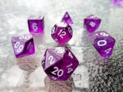 Glitter Poly Dice Set (7 pc). Purple