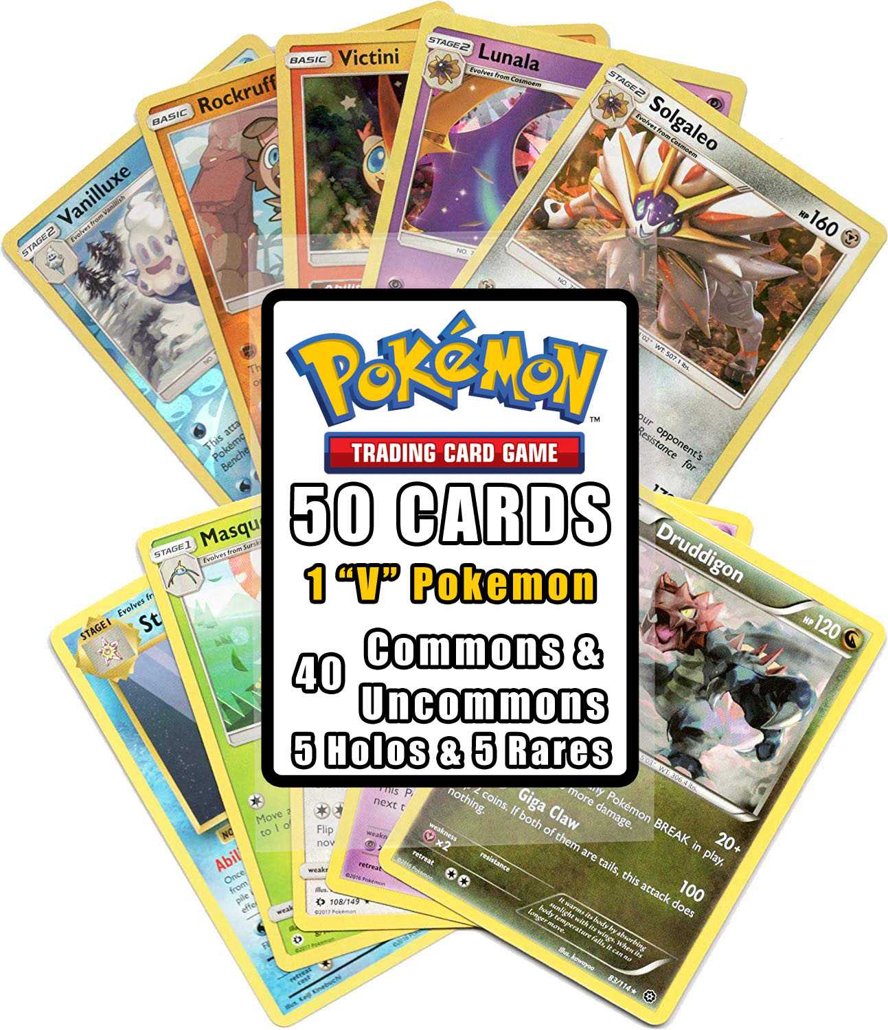Pokemon Cards 50 Card Assorted Lot with Guaranteed V Pokemon