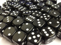 50 D6 12mm Dice Black