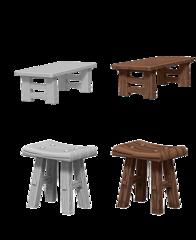 WizKids Deep Cuts Unpainted Miniatures: Wooden Table & Stools
