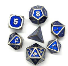 Old School 7 Piece DnD RPG Metal Dice Set: Elven Forged - Metallic Blue