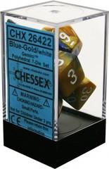 CHX26422 BLUE-GOLD / WHITE GEMINI 7-DIE SET
