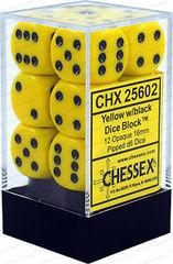 CHX25602 YELLOW W/ BLACK 12 OPAQUE 16MM D6 DICE