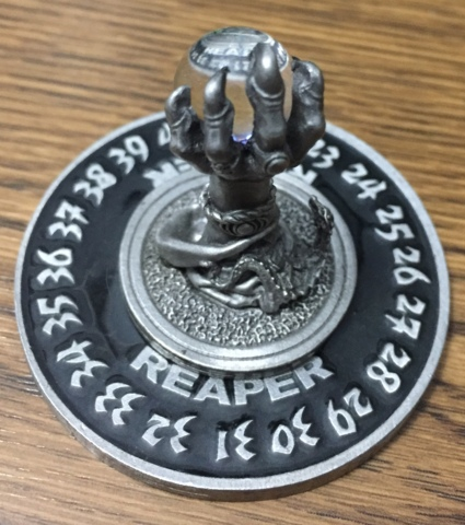 1995 Demon Claw (Black Base) with Crystal Ball - Reaper Miniatures Scrye Life Counter Pewter D&D