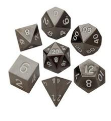 Metallic Dice Games 16mm Sterling Gray Metal Dice Set