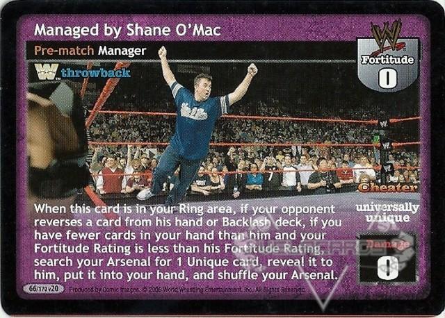 Managed by Shane O/'Mac WWE Raw Deal Velocity Rare