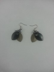 Scale Armor Earrings - Black and Bronze