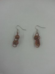 Ringmail Earrings - Garnet and Gold