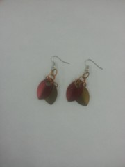 Scale Armor Earrings - Garnet and Gold