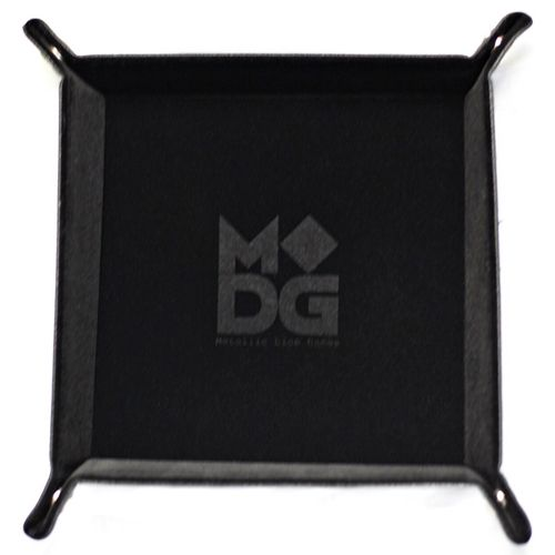 Velvet Folding Dice Tray with Leather Backing - Black