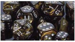 Leaf 7 Dice set (CHX27418) - Black-Gold / Silver
