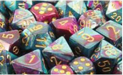 Gemini 7 Dice set (CHX26449) - Purple-Teal / Gold