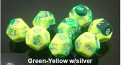 Gemini 7 Dice set (CHX26454) - Green-Yellow / Silver