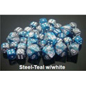Gemini 7 Dice set (CHX26456) - Steel-Teal / White