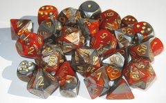 Gemini 7 Dice set (CHX26461) - Orange/Steel w Gold