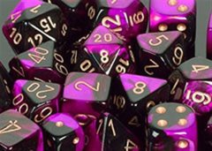 Gemini 7 Dice set (CHX26440) - Black-Purple / Gold