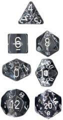 Translucent 7 Dice set (CHX23071) - Clear / White