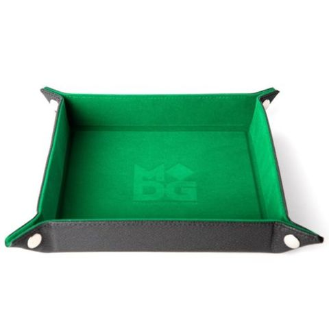 Velvet Folding Dice Tray with Leather Backing - Green
