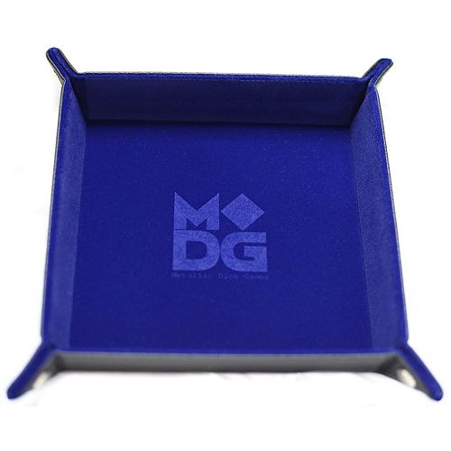 Velvet Folding Dice Tray with Leather Backing - Blue