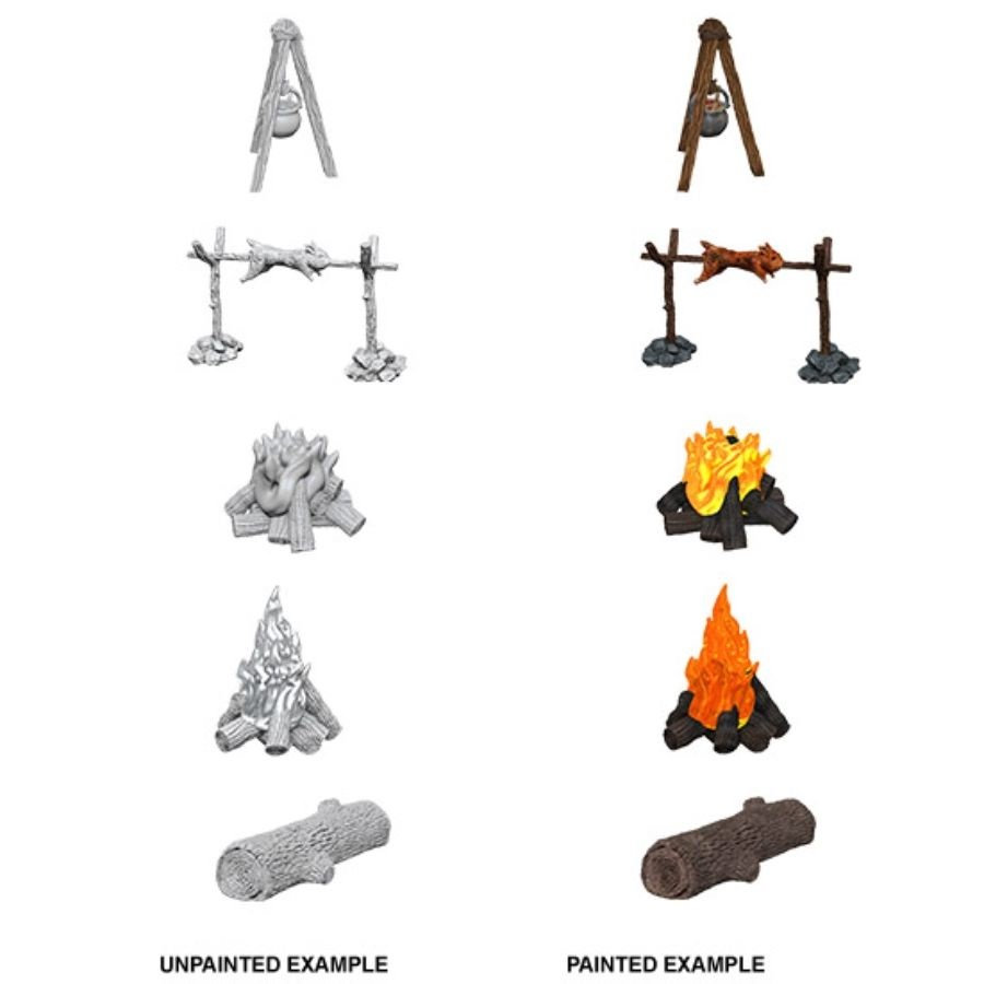 Pathfinder Battles Unpainted Minis - Camp Fire & Sitting Log