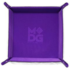 Velvet Folding Dice Tray with Leather Backing - Purple