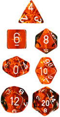 Translucent 7 Dice set (CHX23073) - Orange / White