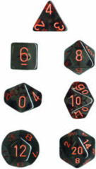 Translucent 7 Dice set (CHX23088) - Smoke / Red