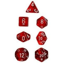 Translucent 7 Dice set (CHX23074) - Red / White
