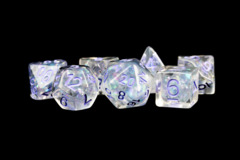 16mm Resin Poly Dice Set: Pearl with Purple Numbers (7)