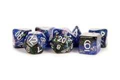 16mm Eternal Resin Polyhedral Dice Set: Blue/Black (7)