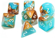 Chessex Polyhedral Dice Set: Lab - Luminary Gemini Copper & Turquoise / White (7)