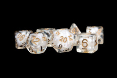 16mm Resin Poly Dice Set: Pearl with Copper Numbers (7)