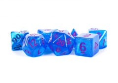 16mm Acrylic Stardust Poly Dice Set: Blue/Purple Numbers (7)