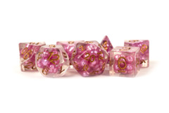 Pearl Resin 16mm Poly Dice Set : Pink /Copper Numbers (7)
