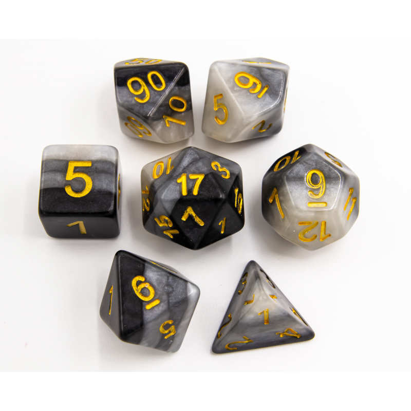 Gray Set of 7 Multilayer Polyhedral Dice with Gold Numbers for D20 based RPGs