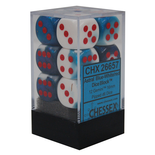Chessex 16mm Dice Block: Gemini Astral Blue-White w/ Red (12)