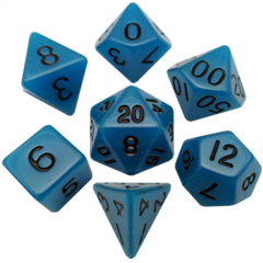 Mini Polyhedral Dice Set: Glow Blue with Black Numbers