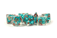 Pearl Resin 16mm Poly Dice Set : Teal /Copper Numbers (7)