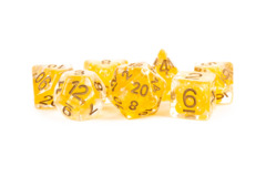 16mm Resin Poly Dice Set: Pearl Citrine with Copper Numbers (7)