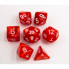 Red Set of 7 Marbled Polyhedral Dice with White Numbers  for D20 based RPG's