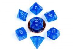 10mm Mini Stardust Acrylic Poly Dice Set: Blue w/ Silver Numbers (7)
