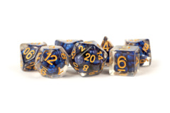 Pearl Resin 16mm Poly Dice Set: Royal Blue/Gold Numbers (7)