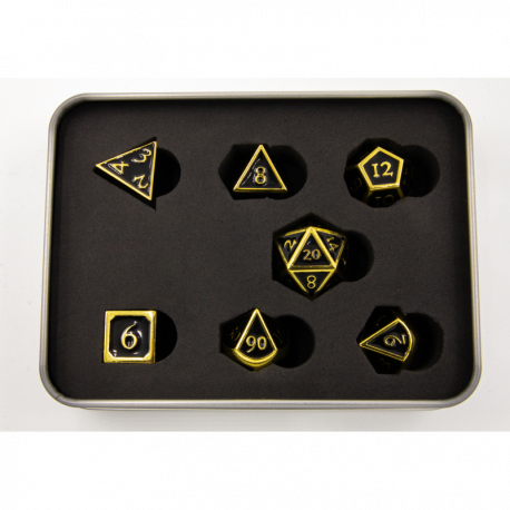 Black Shadow Set of 7 Metal Polyhedral Dice with Gold Numbers for D20 based RPGs