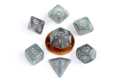 10mm Mini Stardust Acrylic Poly Dice Set: Gray w/ Silver Numbers (7)