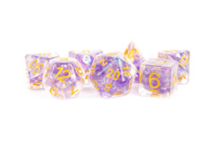 16mm Resin Poly Dice Set: Pearl Purple with Gold Numbers (7)