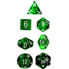 Chessex translucent Green/ white Polyhedral Dice Set (7)