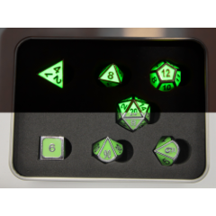 Glow Green Shadow Set of 7 Metal Polyhedral Dice with Silver Numbers for D20 based RPG's