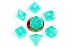 10mm Mini Stardust Acrylic Poly Dice Set: Turquoise (7)